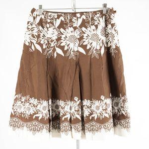 ANN TAYLOR Loft – Brown Floral Midi Skirt – Size 8